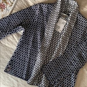 H & M Graphic Navy & White Open Cardigan US Small
